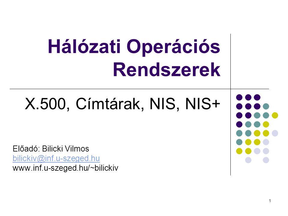 1 Hálózati Operációs Rendszerek X.500, Címtárak, NIS, NIS+ Előadó: Bilicki Vilmos bilickiv@inf.u-szeged.hu www.inf.u-szeged.hu/~bilickiv