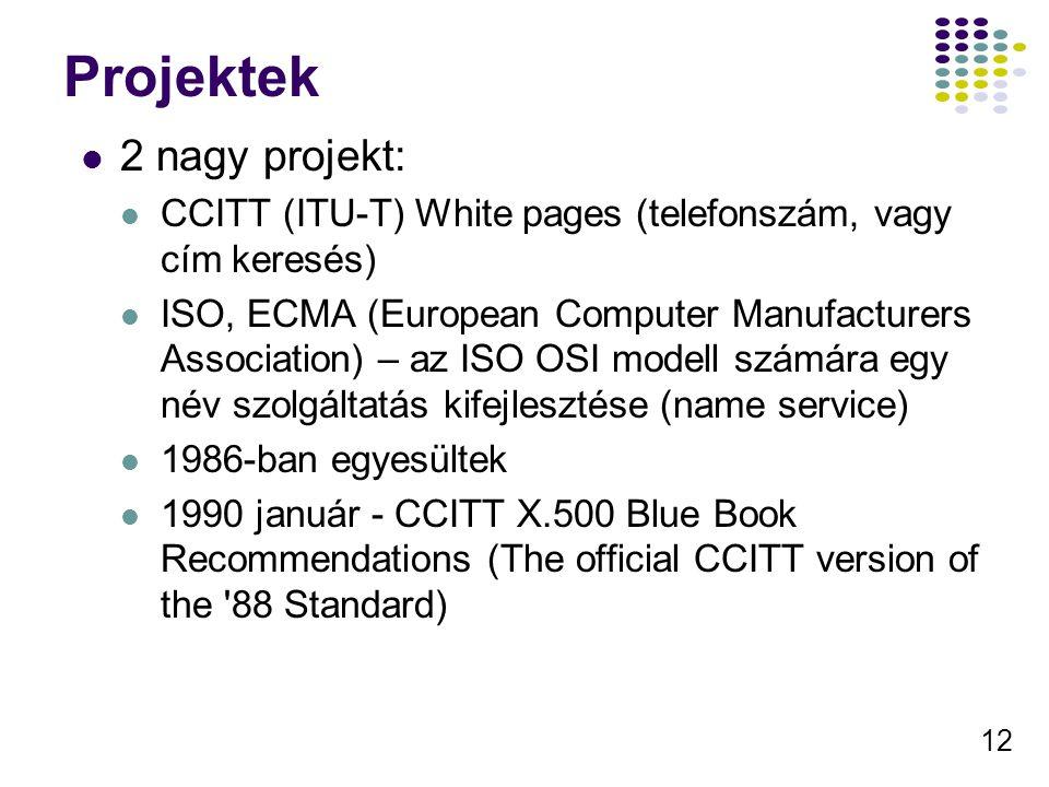 12 Projektek 2 nagy projekt: CCITT (ITU-T) White pages (telefonszám, vagy cím keresés) ISO, ECMA (European Computer Manufacturers Association) – az ISO OSI modell számára egy név szolgáltatás kifejlesztése (name service) 1986-ban egyesültek 1990 január - CCITT X.500 Blue Book Recommendations (The official CCITT version of the 88 Standard)