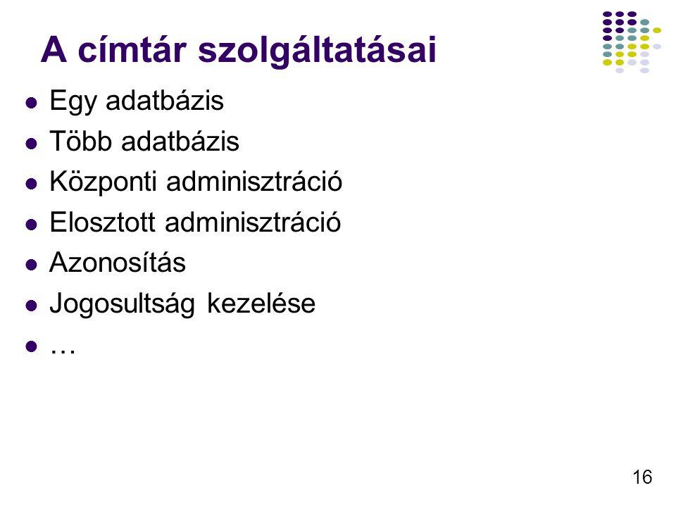 16 A címtár szolgáltatásai Egy adatbázis Több adatbázis Központi adminisztráció Elosztott adminisztráció Azonosítás Jogosultság kezelése …