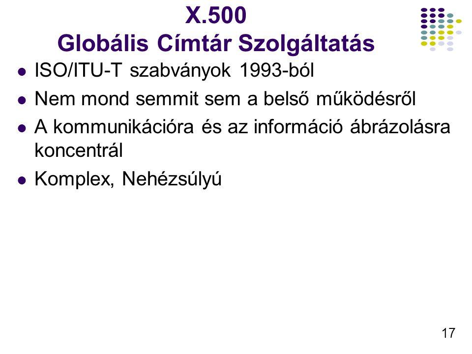 17 X.500 Globális Címtár Szolgáltatás ISO/ITU-T szabványok 1993-ból Nem mond semmit sem a belső működésről A kommunikációra és az információ ábrázolásra koncentrál Komplex, Nehézsúlyú