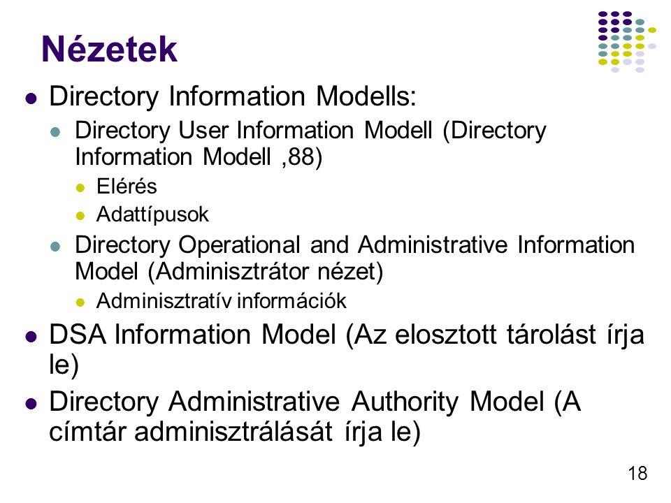 18 Nézetek Directory Information Modells: Directory User Information Modell (Directory Information Modell,88) Elérés Adattípusok Directory Operational and Administrative Information Model (Adminisztrátor nézet) Adminisztratív információk DSA Information Model (Az elosztott tárolást írja le) Directory Administrative Authority Model (A címtár adminisztrálását írja le)