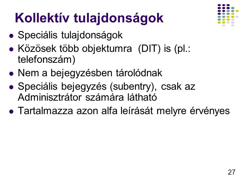 27 Kollektív tulajdonságok Speciális tulajdonságok Közösek több objektumra (DIT) is (pl.: telefonszám) Nem a bejegyzésben tárolódnak Speciális bejegyz