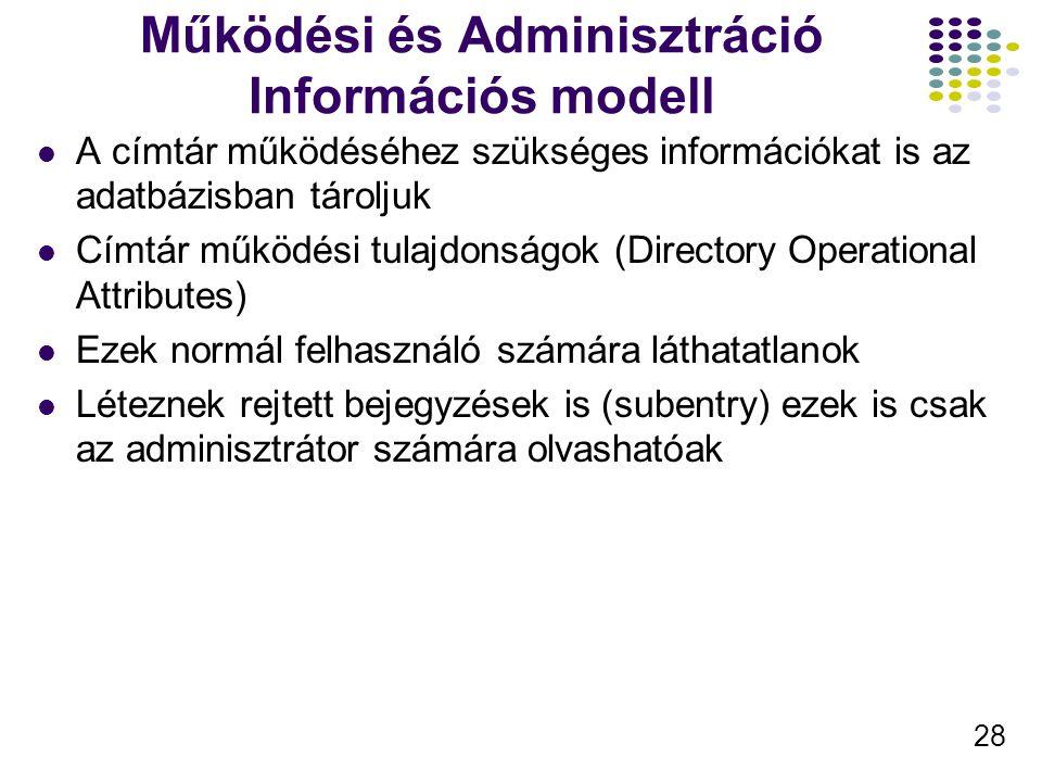28 Működési és Adminisztráció Információs modell A címtár működéséhez szükséges információkat is az adatbázisban tároljuk Címtár működési tulajdonságok (Directory Operational Attributes) Ezek normál felhasználó számára láthatatlanok Léteznek rejtett bejegyzések is (subentry) ezek is csak az adminisztrátor számára olvashatóak