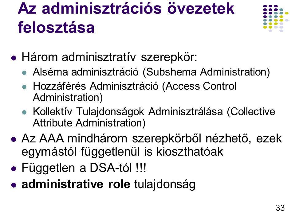 33 Az adminisztrációs övezetek felosztása Három adminisztratív szerepkör: Alséma adminisztráció (Subshema Administration) Hozzáférés Adminisztráció (Access Control Administration) Kollektív Tulajdonságok Adminisztrálása (Collective Attribute Administration) Az AAA mindhárom szerepkörből nézhető, ezek egymástól függetlenül is kioszthatóak Független a DSA-tól !!.