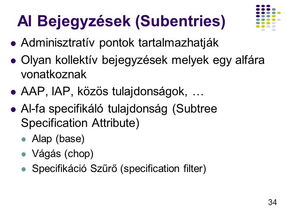 34 Al Bejegyzések (Subentries) Adminisztratív pontok tartalmazhatják Olyan kollektív bejegyzések melyek egy alfára vonatkoznak AAP, IAP, közös tulajdonságok, … Al-fa specifikáló tulajdonság (Subtree Specification Attribute) Alap (base) Vágás (chop) Specifikáció Szűrő (specification filter)