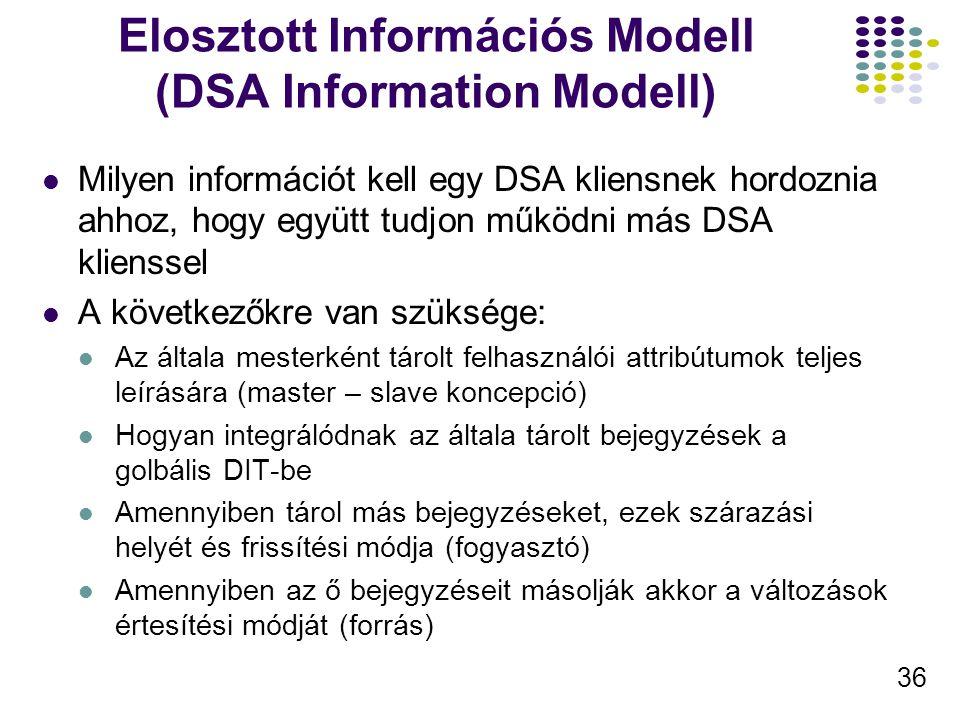 36 Elosztott Információs Modell (DSA Information Modell) Milyen információt kell egy DSA kliensnek hordoznia ahhoz, hogy együtt tudjon működni más DSA klienssel A következőkre van szüksége: Az általa mesterként tárolt felhasználói attribútumok teljes leírására (master – slave koncepció) Hogyan integrálódnak az általa tárolt bejegyzések a golbális DIT-be Amennyiben tárol más bejegyzéseket, ezek szárazási helyét és frissítési módja (fogyasztó) Amennyiben az ő bejegyzéseit másolják akkor a változások értesítési módját (forrás)