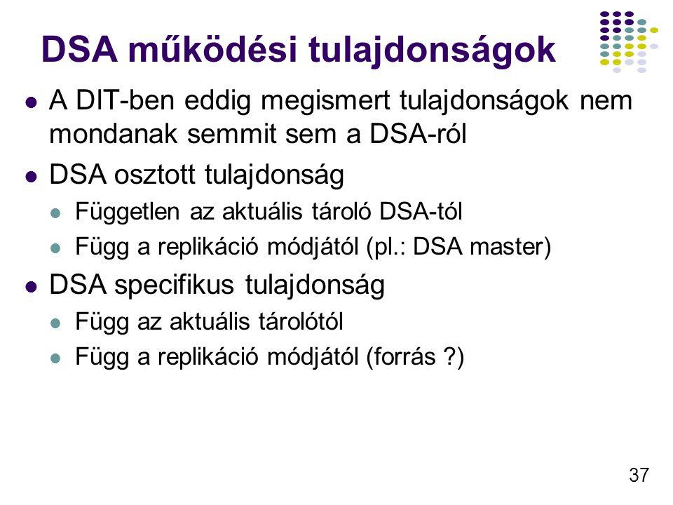 37 DSA működési tulajdonságok A DIT-ben eddig megismert tulajdonságok nem mondanak semmit sem a DSA-ról DSA osztott tulajdonság Független az aktuális tároló DSA-tól Függ a replikáció módjától (pl.: DSA master) DSA specifikus tulajdonság Függ az aktuális tárolótól Függ a replikáció módjától (forrás )