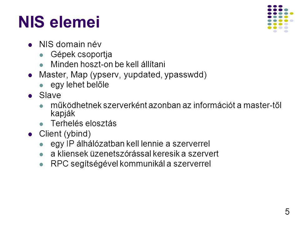 5 NIS elemei NIS domain név Gépek csoportja Minden hoszt-on be kell állítani Master, Map (ypserv, yupdated, ypasswdd) egy lehet belőle Slave működhetnek szerverként azonban az információt a master-től kapják Terhelés elosztás Client (ybind) egy IP álhálózatban kell lennie a szerverrel a kliensek üzenetszórással keresik a szervert RPC segítségével kommunikál a szerverrel