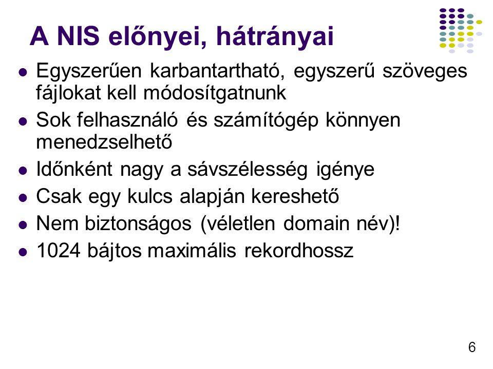 6 A NIS előnyei, hátrányai Egyszerűen karbantartható, egyszerű szöveges fájlokat kell módosítgatnunk Sok felhasználó és számítógép könnyen menedzselhető Időnként nagy a sávszélesség igénye Csak egy kulcs alapján kereshető Nem biztonságos (véletlen domain név).
