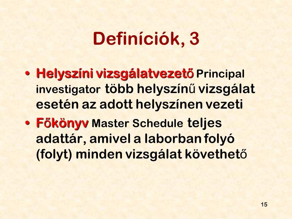 15 Definíciók, 3 Helyszíni vizsgálatvezet őHelyszíni vizsgálatvezet ő Principal investigator több helyszín ű vizsgálat esetén az adott helyszínen veze