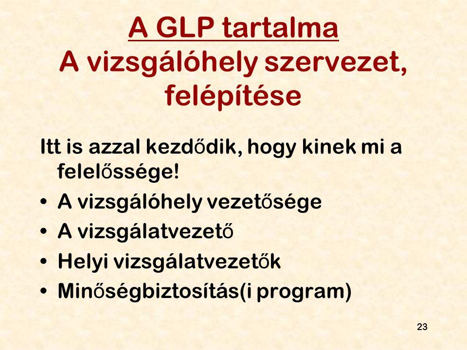 23 A GLP tartalma A vizsgálóhely szervezet, felépítése Itt is azzal kezd ő dik, hogy kinek mi a felel ő ssége! A vizsgálóhely vezet ő sége A vizsgálat
