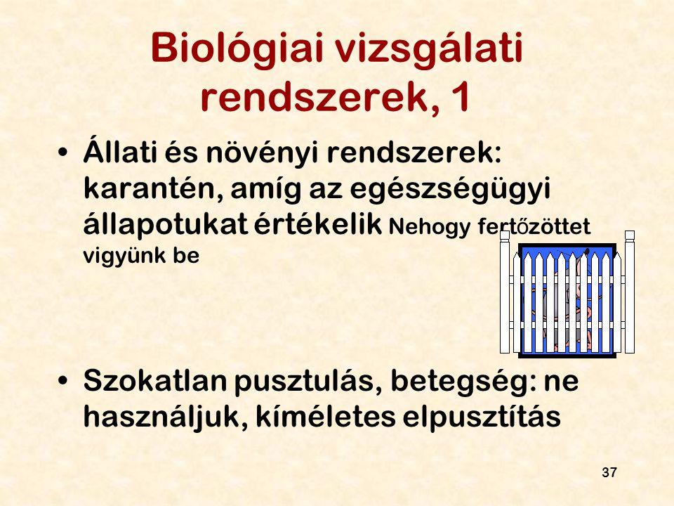37 Biológiai vizsgálati rendszerek, 1 Állati és növényi rendszerek: karantén, amíg az egészségügyi állapotukat értékelik Nehogy fert ő zöttet vigyünk