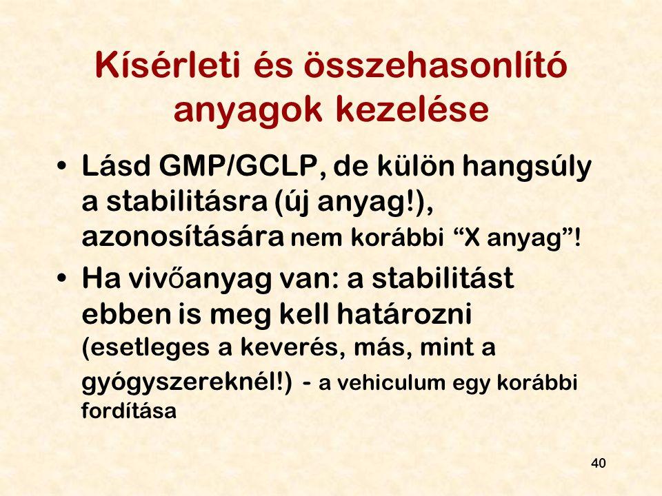 """40 Kísérleti és összehasonlító anyagok kezelése Lásd GMP/GCLP, de külön hangsúly a stabilitásra (új anyag!), azonosítására nem korábbi """"X anyag""""! Ha v"""