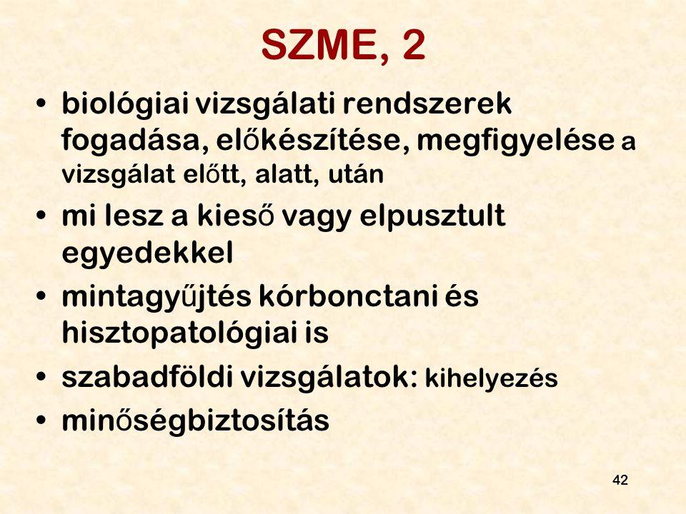 42 SZME, 2 biológiai vizsgálati rendszerek fogadása, el ő készítése, megfigyelése a vizsgálat el ő tt, alatt, után mi lesz a kies ő vagy elpusztult eg