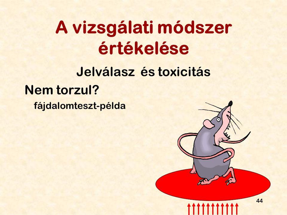 44 A vizsgálati módszer értékelése Jelválasz és toxicitás Nem torzul? fájdalomteszt-példa