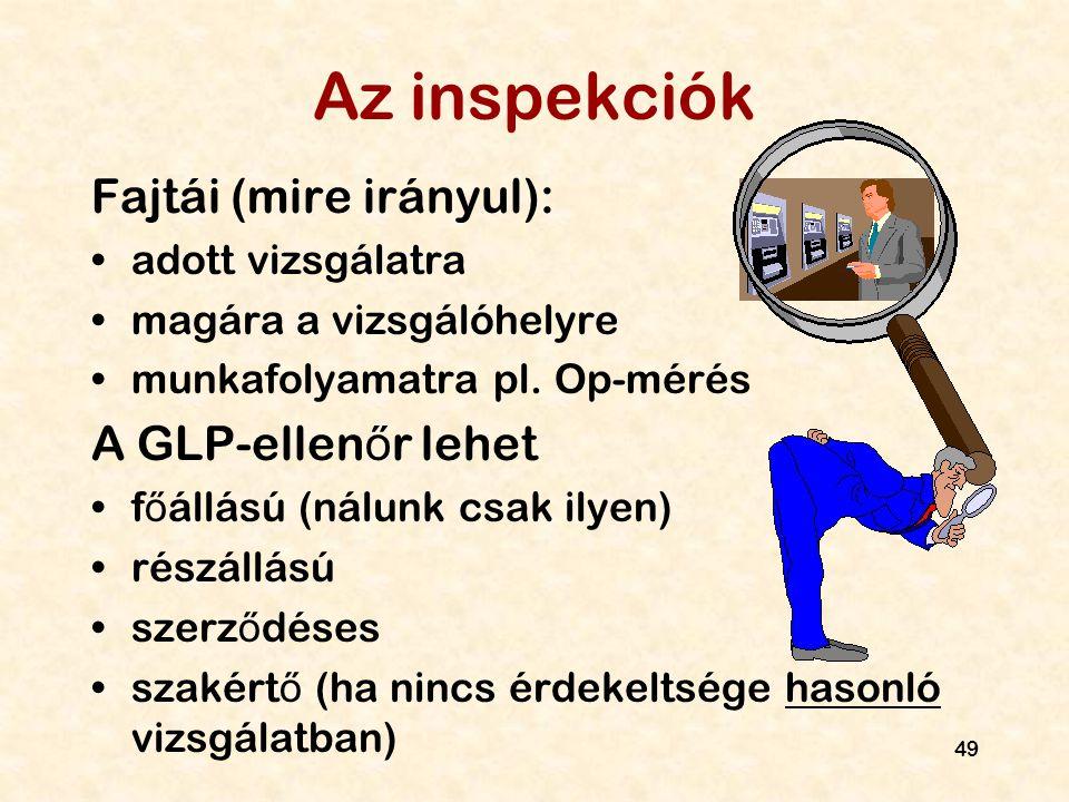 49 Az inspekciók Fajtái (mire irányul): adott vizsgálatra magára a vizsgálóhelyre munkafolyamatra pl. Op-mérés A GLP-ellen ő r lehet f ő állású (nálun