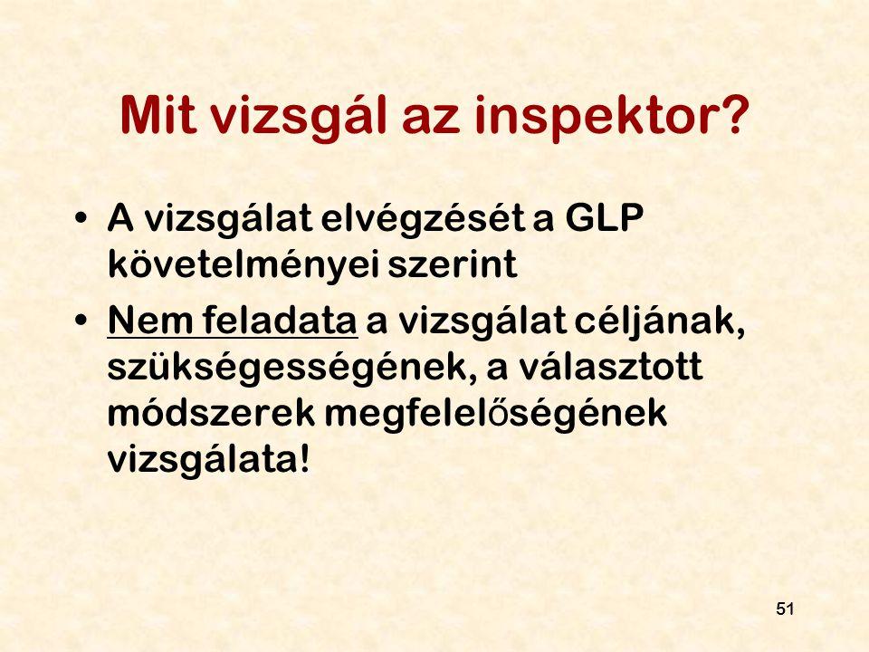 51 Mit vizsgál az inspektor? A vizsgálat elvégzését a GLP követelményei szerint Nem feladata a vizsgálat céljának, szükségességének, a választott móds
