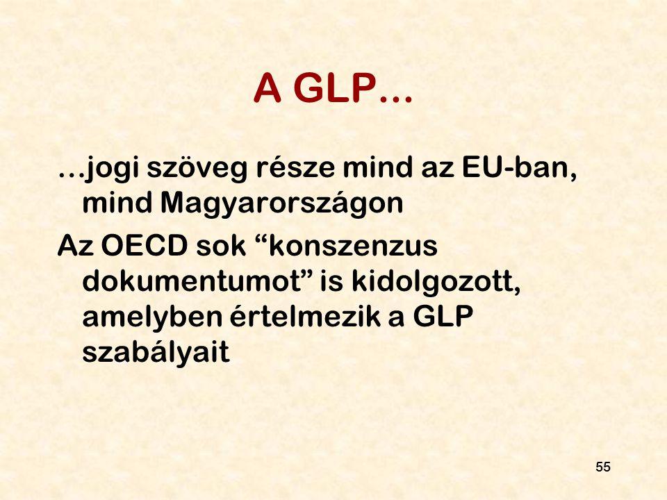 """55 A GLP... …jogi szöveg része mind az EU-ban, mind Magyarországon Az OECD sok """"konszenzus dokumentumot"""" is kidolgozott, amelyben értelmezik a GLP sza"""