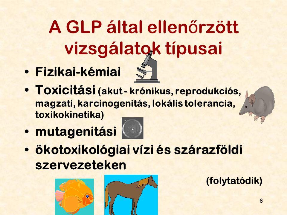 7 A GLP által ellen ő rzött vizsgálatok típusai (folytatás) Vízben-talajban-leveg ő ben lebomlás, bioakkumuláció szermaradvány (növényvéd ő szer) mikroklímára, természetes ökoszisztémákra való hatás az el ő z ő ekkel kapcsolatos analitikai- klinikai vizsgálatokra (klinikai: állat!)