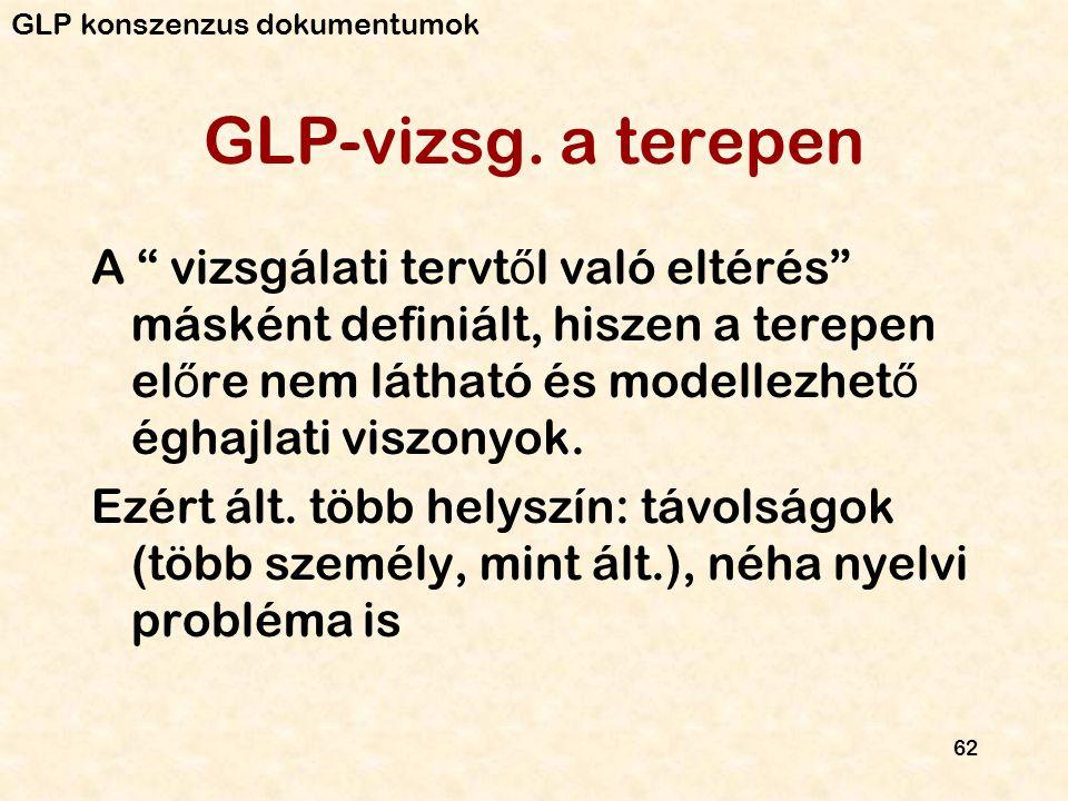 """62 GLP-vizsg. a terepen A """" vizsgálati tervt ő l való eltérés"""" másként definiált, hiszen a terepen el ő re nem látható és modellezhet ő éghajlati visz"""