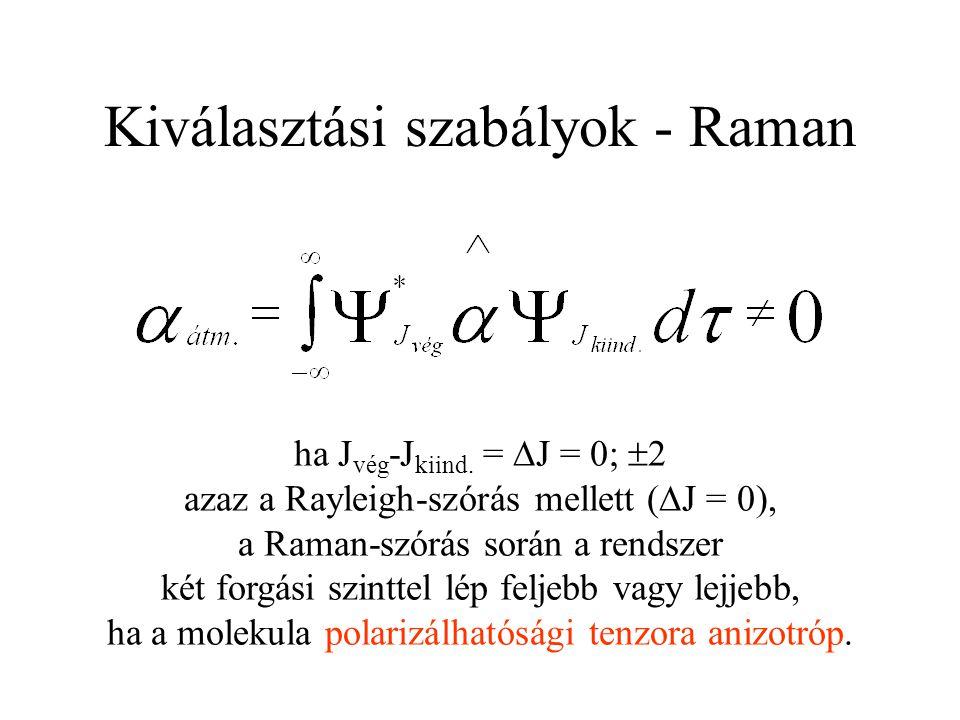 Kiválasztási szabályok - Raman ha J vég -J kiind. =  J = 0;  2 azaz a Rayleigh-szórás mellett (  J = 0), a Raman-szórás során a rendszer két forgás