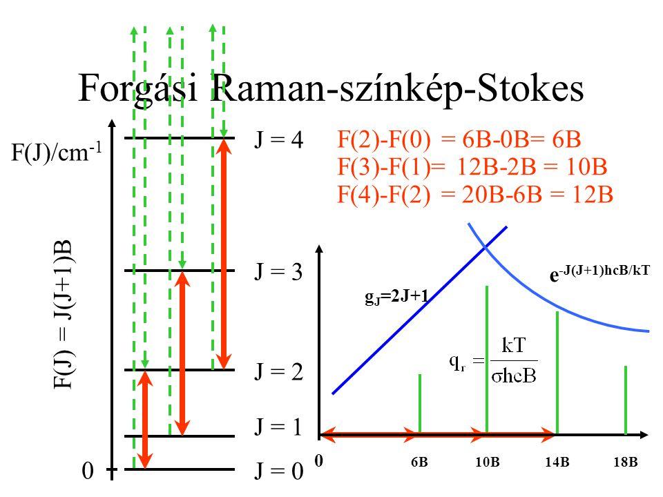 Forgási Raman-színkép-Stokes J = 3 J = 4 J = 2 J = 1 J = 0 F(J)/cm -1 0 F(J) = J(J+1)B F(2)-F(0) = 6B-0B= 6B F(3)-F(1)= 12B-2B = 10B F(4)-F(2) = 20B-6