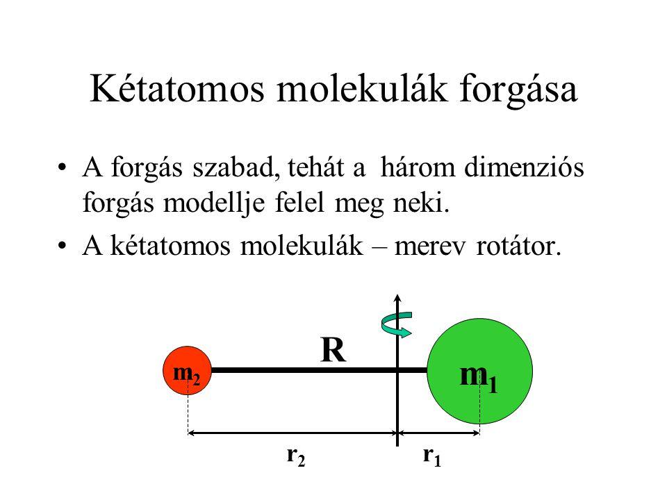 R Kétatomos molekulák forgása A forgás szabad, tehát a három dimenziós forgás modellje felel meg neki. A kétatomos molekulák – merev rotátor. m1m1 m2m