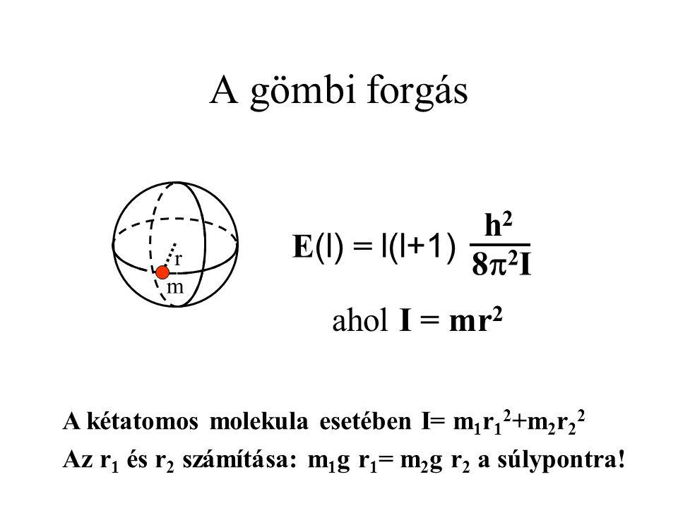 A gömbi forgás r m E (l) = l(l+1) h2h2 82I82I ahol I = mr 2 A kétatomos molekula esetében I= m 1 r 1 2 +m 2 r 2 2 Az r 1 és r 2 számítása: m 1 g r 1