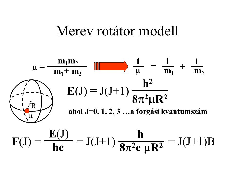 Merev rotátor modell R  E(J) = J(J+1) h2h2 82R282R2 m1m2m1m2 m 1 + m 2  = m1m1 m2m2  = + 1 1 1 ahol J=0, 1, 2, 3 …a forgási kvantumszám h 8  2