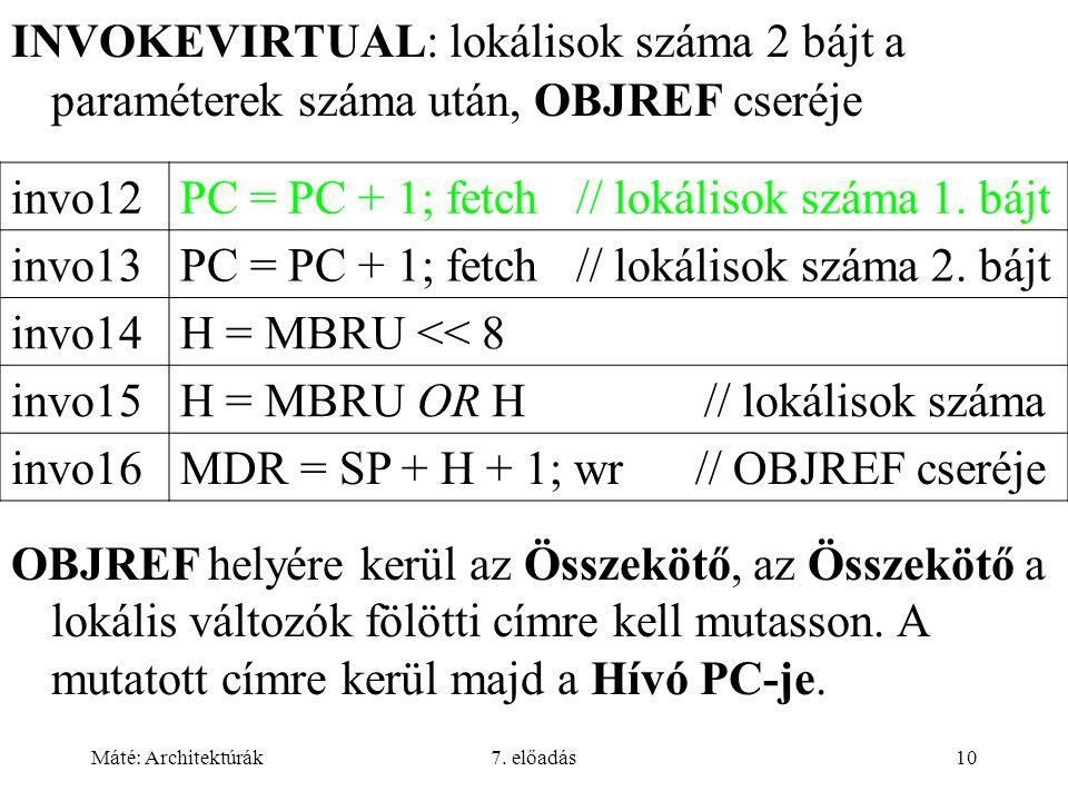 Máté: Architektúrák7. előadás10 INVOKEVIRTUAL: lokálisok száma 2 bájt a paraméterek száma után, OBJREF cseréje invo12PC = PC + 1; fetch // lokálisok s