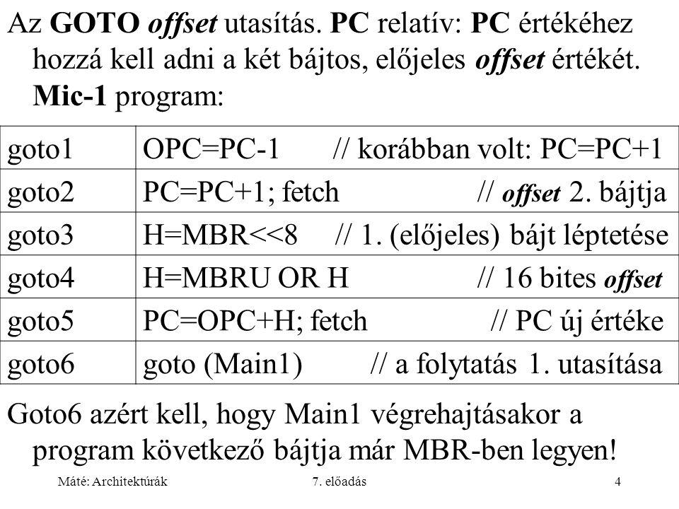 Máté: Architektúrák7. előadás4 Az GOTO offset utasítás. PC relatív: PC értékéhez hozzá kell adni a két bájtos, előjeles offset értékét. Mic-1 program: