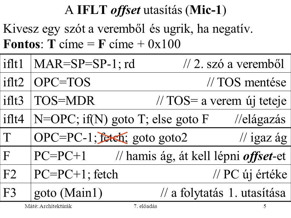 Máté: Architektúrák7. előadás5 A IFLT offset utasítás (Mic-1) Kivesz egy szót a veremből és ugrik, ha negatív. Fontos: T címe = F címe + 0x100 iflt1MA