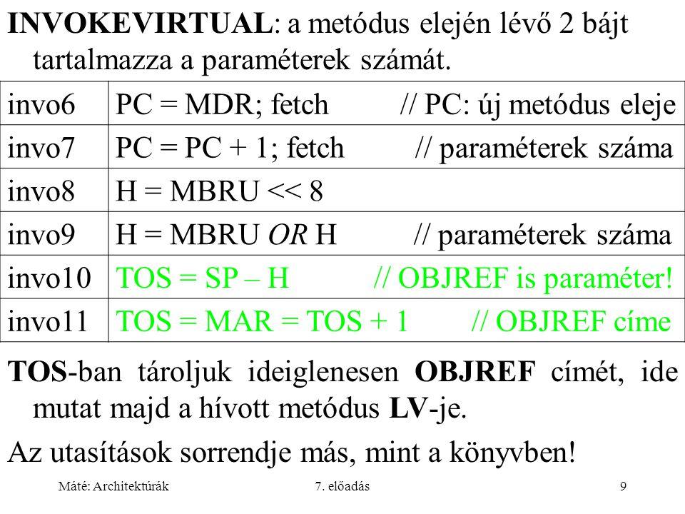 Máté: Architektúrák7. előadás9 INVOKEVIRTUAL: a metódus elején lévő 2 bájt tartalmazza a paraméterek számát. invo6PC = MDR; fetch // PC: új metódus el