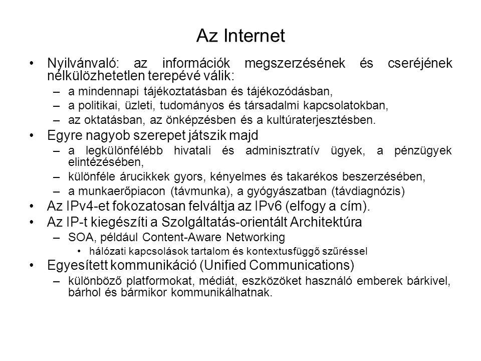 Az Internet Nyilvánvaló: az információk megszerzésének és cseréjének nélkülözhetetlen terepévé válik: –a mindennapi tájékoztatásban és tájékozódásban,