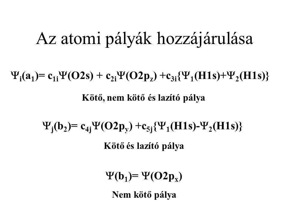 Az atomi pályák hozzájárulása  i (a 1 )= c 1i  (O2s) + c 2i  (O2p z ) +c 3i {  1 (H1s)+  2 (H1s)}  j (b 2 )= c 4j  (O2p y ) +c 5j {  1 (H1s)-  2 (H1s)}  (b 1 )=  (O2p x ) Kötő, nem kötő és lazító pálya Kötő és lazító pálya Nem kötő pálya