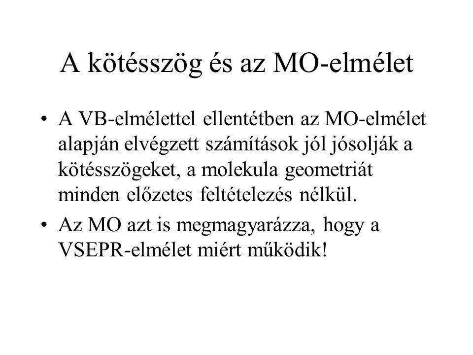 A kötésszög és az MO-elmélet A VB-elmélettel ellentétben az MO-elmélet alapján elvégzett számítások jól jósolják a kötésszögeket, a molekula geometriát minden előzetes feltételezés nélkül.
