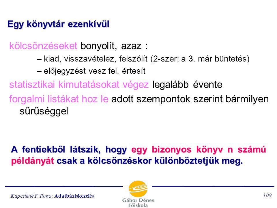 Kupcsikné F. Ilona: Adatbáziskezelés 108 7.példa: KÖNYVTÁR Egy könyvtár beszerez új könyveket (ugyanabból a könyvből több példányt) selejtez használta