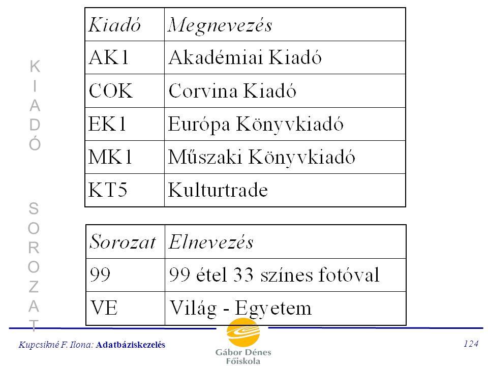 Kupcsikné F. Ilona: Adatbáziskezelés 123 PÉLDÁNYPÉLDÁNY