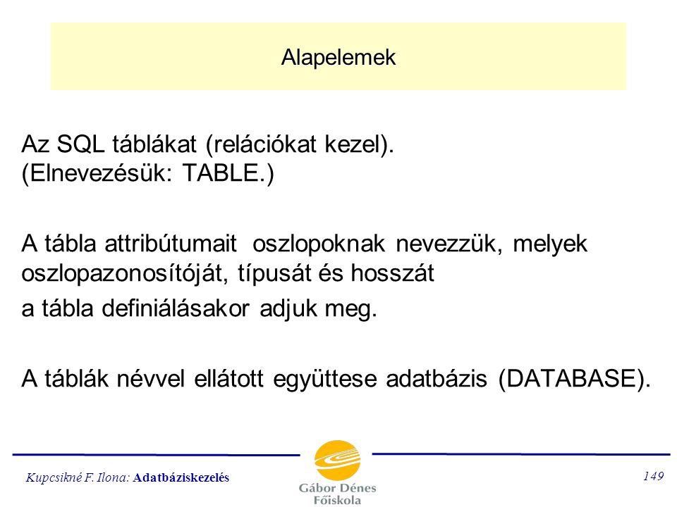 Kupcsikné F. Ilona: Adatbáziskezelés 148 Az 1. szabvány SQL nyelv elemei