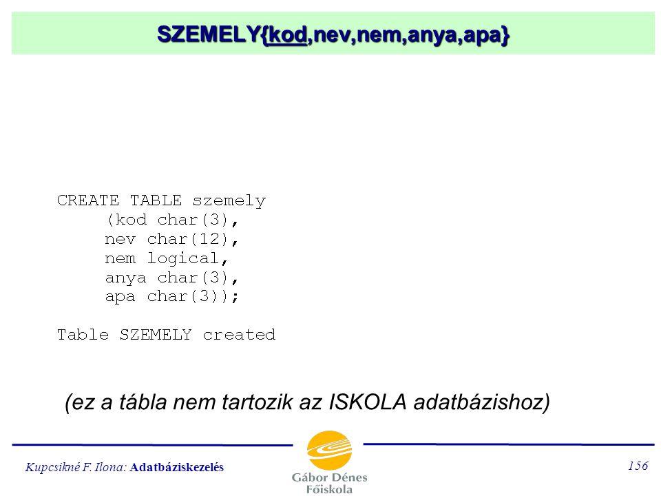 Kupcsikné F. Ilona: Adatbáziskezelés 155 Adattábla definiálása CREATE TABLE táblanév (oszlopnév adattípus (adathossz) [,oszlopnév adattípus (adathossz