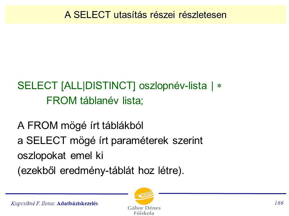 Kupcsikné F. Ilona: Adatbáziskezelés 165 A SELECT parancs végrehajtása FROM... [Descartes-szorzat] [WHERE...] szelekció [GROUP BY... csoportosítás (re