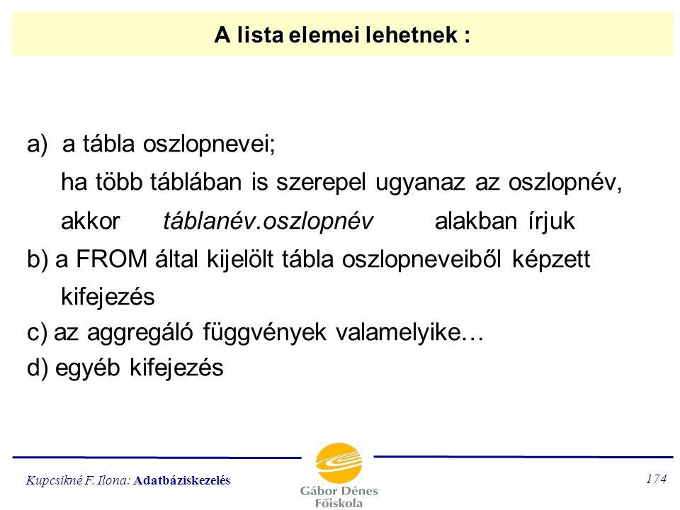 Kupcsikné F. Ilona: Adatbáziskezelés 173