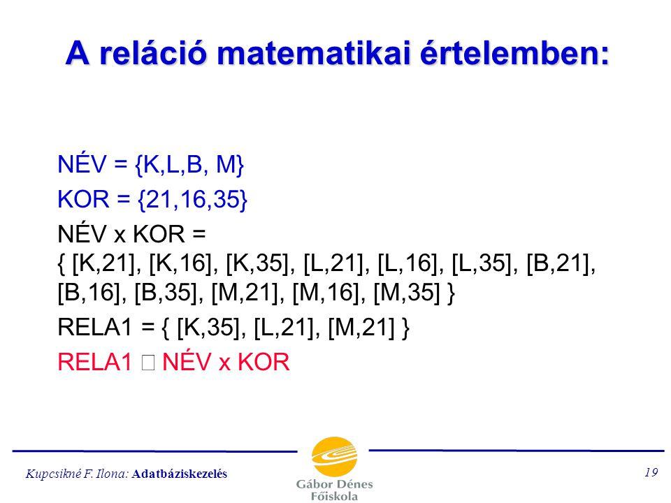 Kupcsikné F. Ilona: Adatbáziskezelés 18 A relációs adatmodell Az egyedet egy táblázattal adjuk meg. A táblázat oszlopai a tulajdonságok. Reláció: a tu