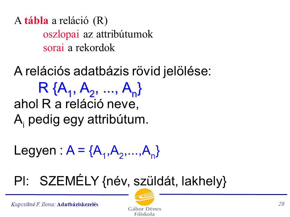 Kupcsikné F. Ilona: Adatbáziskezelés 19 A reláció matematikai értelemben: NÉV = {K,L,B, M} KOR = {21,16,35} NÉV x KOR = { [K,21], [K,16], [K,35], [L,2