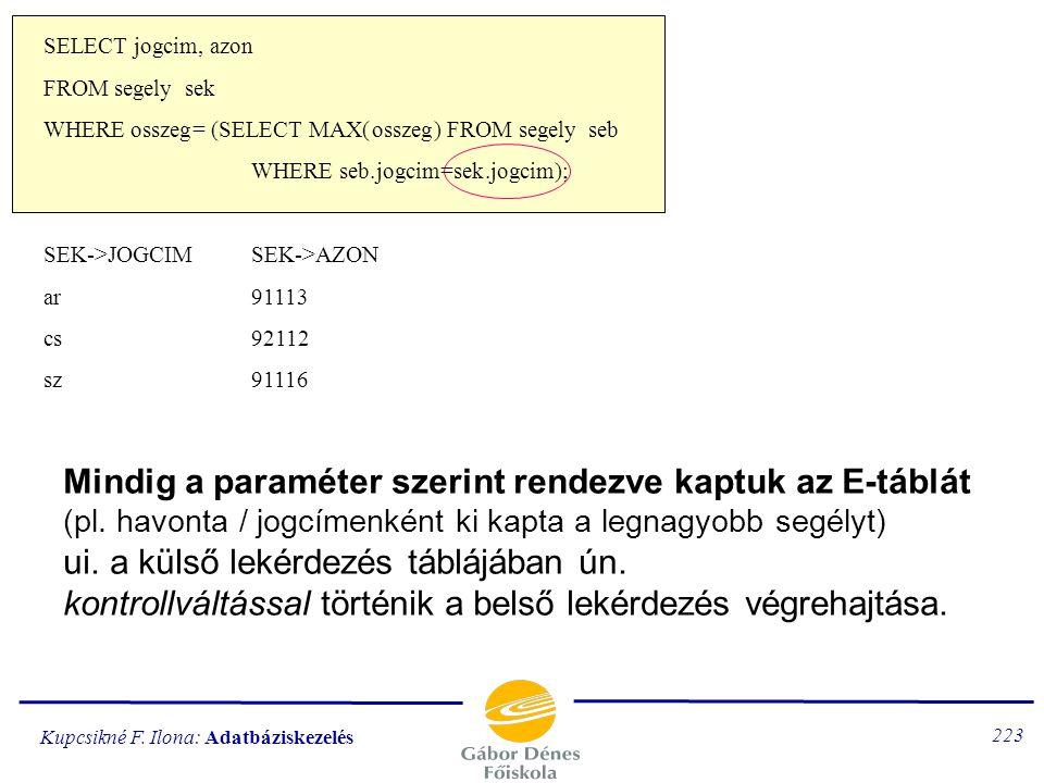 Kupcsikné F. Ilona: Adatbáziskezelés 222 soronként újra számolja a havi maximumot egy értéket ad vissza, de mindig végrehajtódik a külső paraméter: se