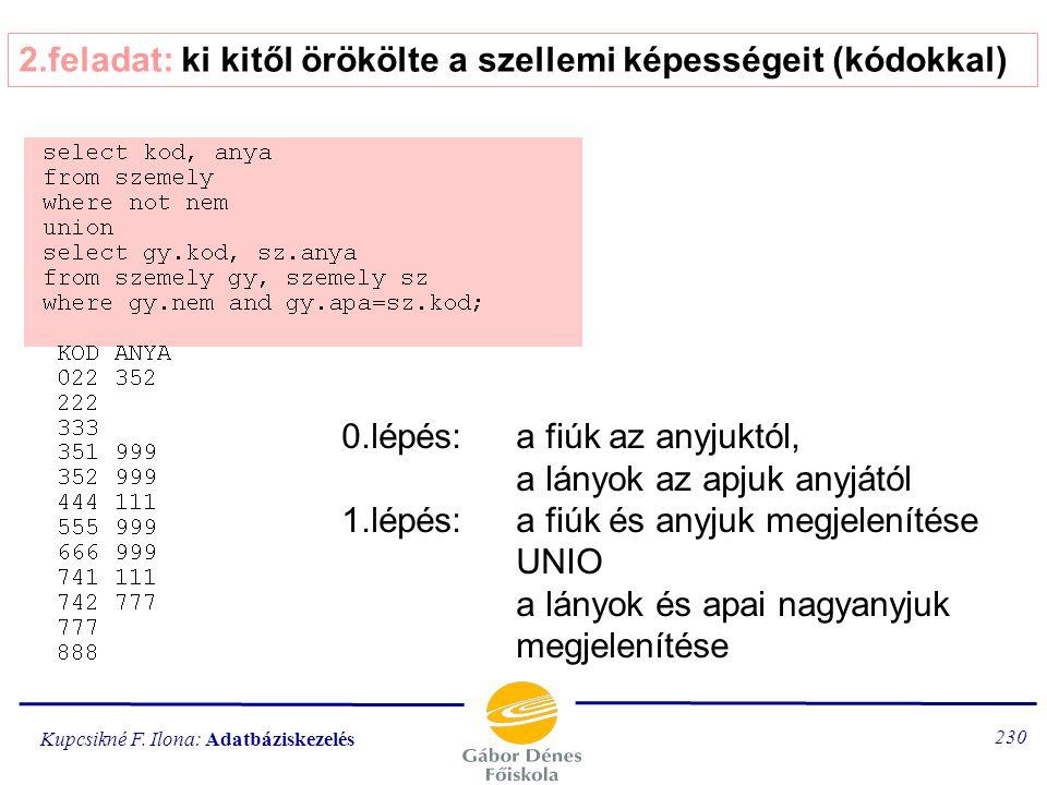 Kupcsikné F. Ilona: Adatbáziskezelés 229 1.feladat: az osztályoknak kifizetett összes segély átlaga 1.lépés: a segélyek összege osztályonként 2.lépés:
