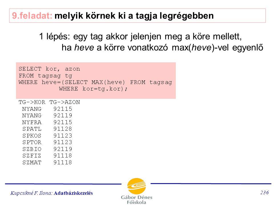Kupcsikné F. Ilona: Adatbáziskezelés 235 8.feladat: melyik körnek van a legtöbb tagja 1.lépés: körönként hány tag van 2.lépés: a max. tagsággal rendel
