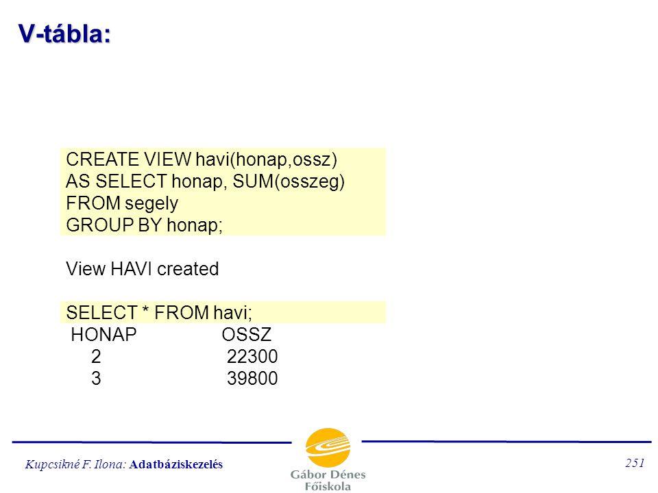 Kupcsikné F. Ilona: Adatbáziskezelés 250 V-tábla: SELECT osztaly, COUNT(*) FROM nezet GROUP BY osztaly; G_OSZTALY COUNT1 2A 3 2B 3 2C 7 SELECT * FROM
