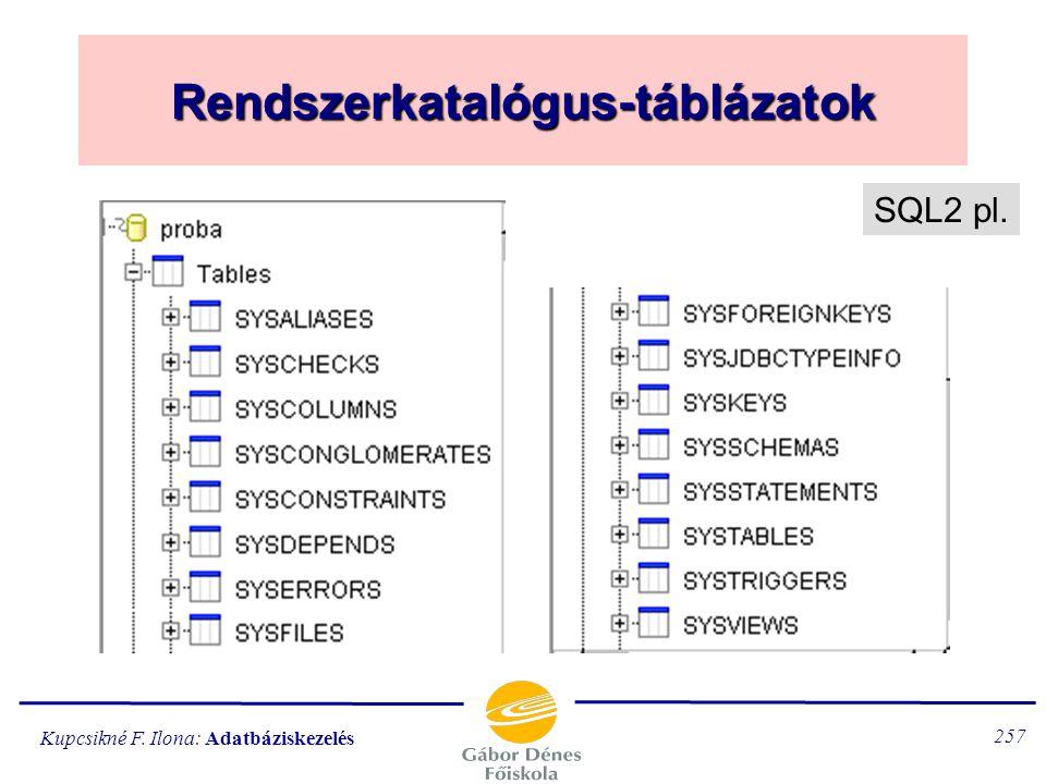 Kupcsikné F. Ilona: Adatbáziskezelés 256 ABKR felépítése Metaadatok Tárkezelő Lekérdezés-feldolgozó Tranzakció-kezelő Igények az ABKR felé szerkezeti