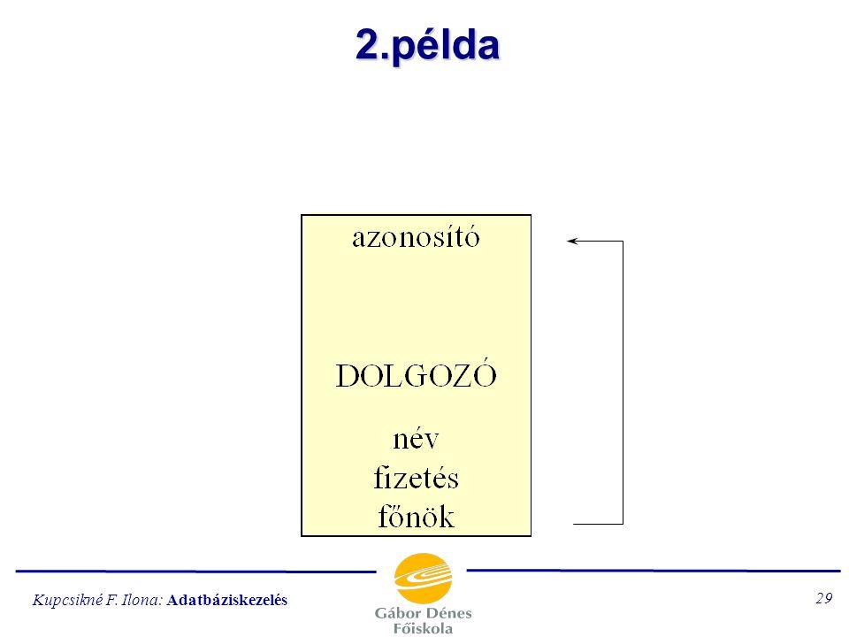 Kupcsikné F. Ilona: Adatbáziskezelés 28 1.példa